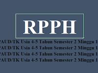 Download RPPH PAUD/TK Usia 4-5 Tahun Semester 2 Minggu 1-8