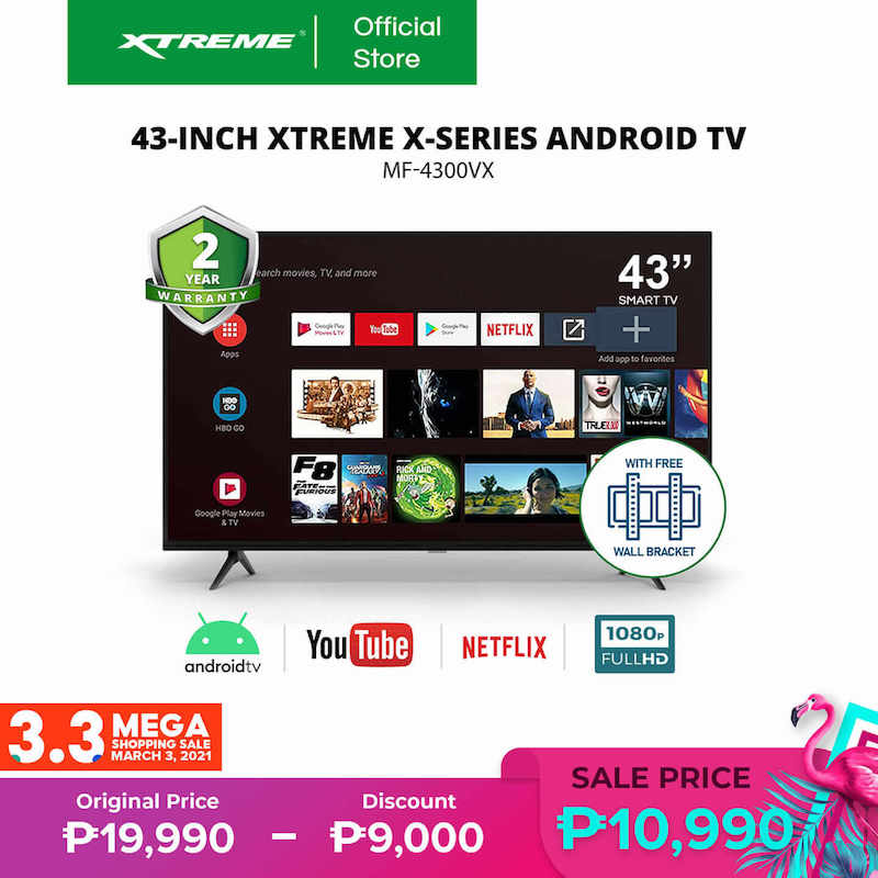 XTREME Appliances' Android TV is the most affordable 43-inch television you can buy on Shopee 3.3 Mega Shopping Sale!
