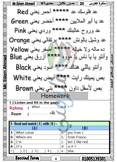 مذكرة لغة انجليزية للصف الثالث الابتدائي الترم الثاني