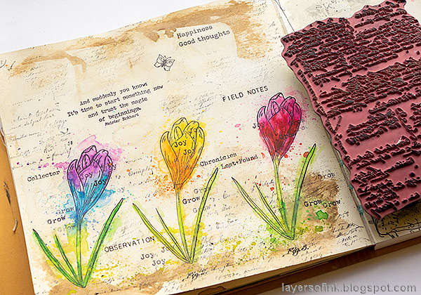 Layers of ink - Colorful Floral Crocus Tutorial by Anna-Karin Evaldsson. Stamp with a script stamp.