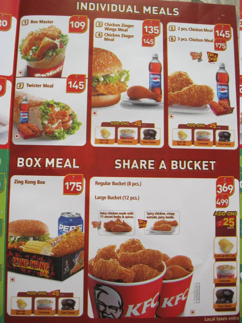 kfc menu price list canada