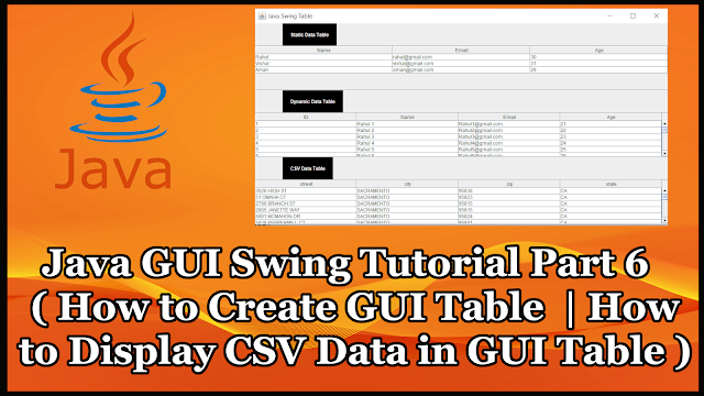 Java GUI Swing Tutorial Part 19.6 | How to Show CSV Data in GUI Table | Swing JTable