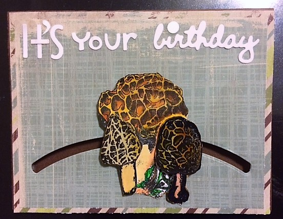 For the Love of Cardmaking: Morel Mushroom Birthday slider card