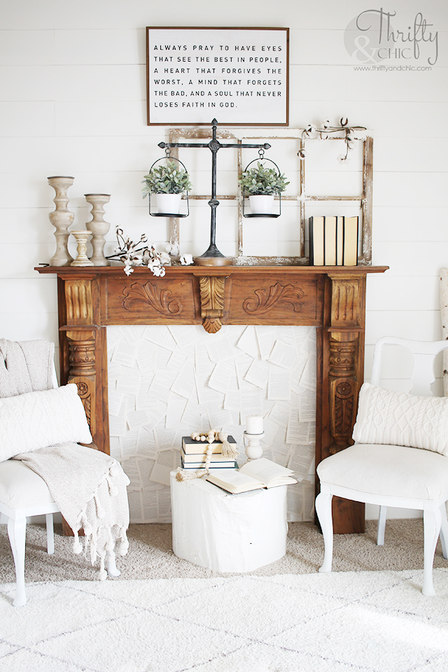 Living room spring decor and decorating ideas. how to decorate for spring. Neutral living room decor. Faux fireplace and mantel. Spring mantel decor and decorating ideas. Farmhouse living room ideas. Shiplap walls one one wall in living room. Rustic living room decor. Thrifted living room decor. How to decorate a living room. Living room and guest room combo. White living room decor. Cottage white living room design.
