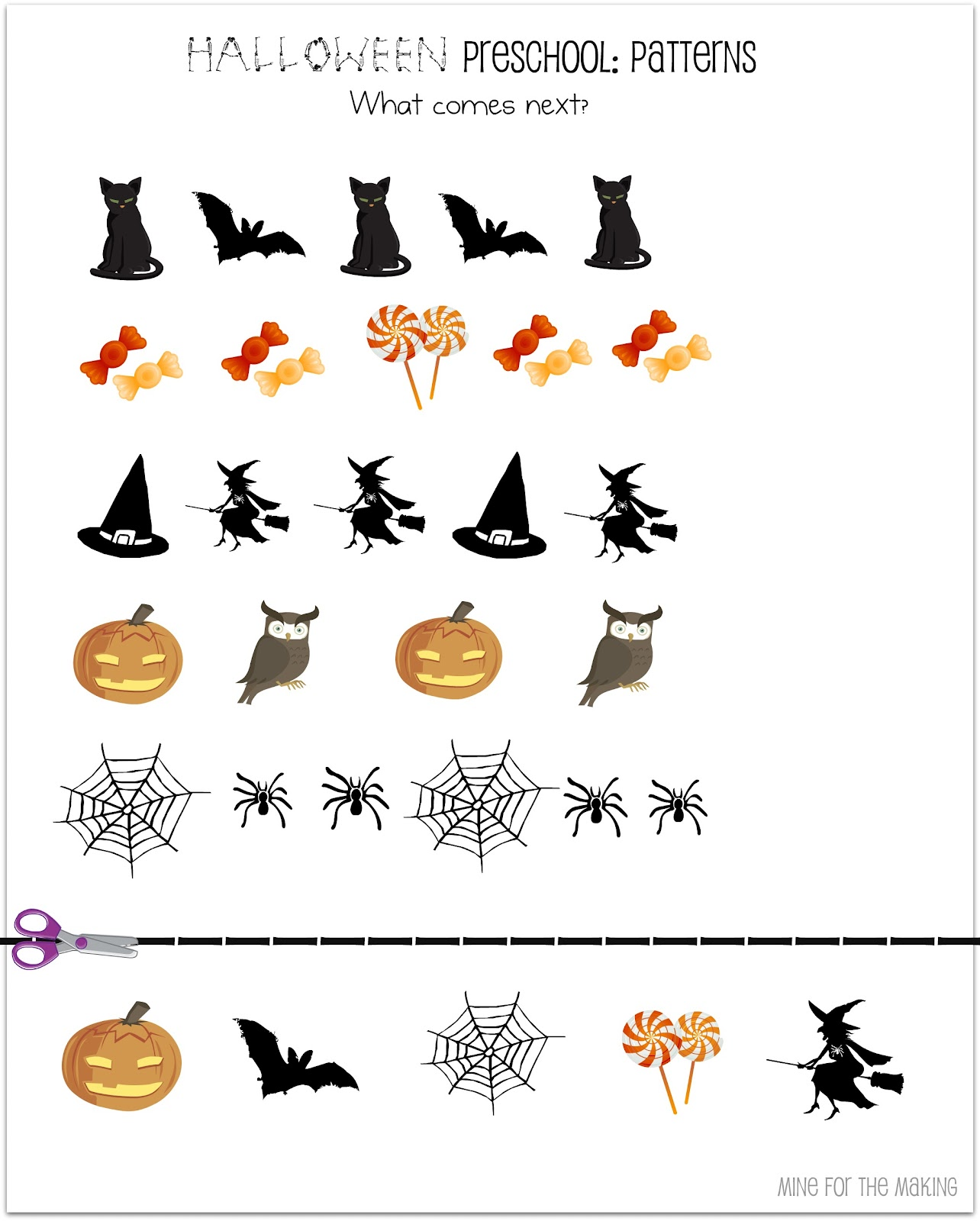 Preschool Pattern Worksheet For Halloween