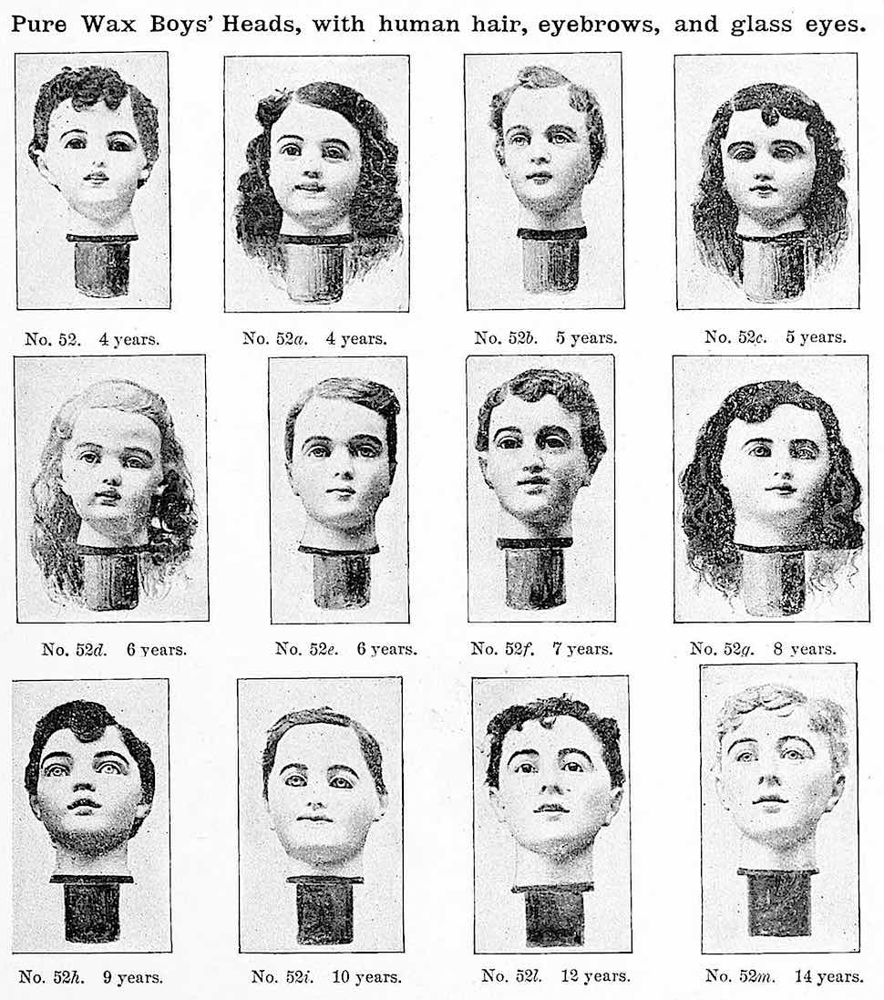 1893 Pure wax boy's heads with human hair, eyebrows and glass eyes, a photograph