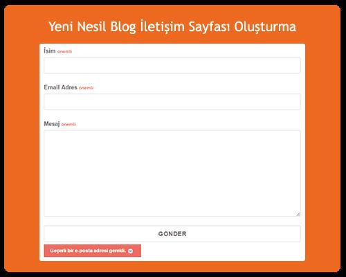 Yeni Nesil Blog İletişim Sayfası Oluşturma