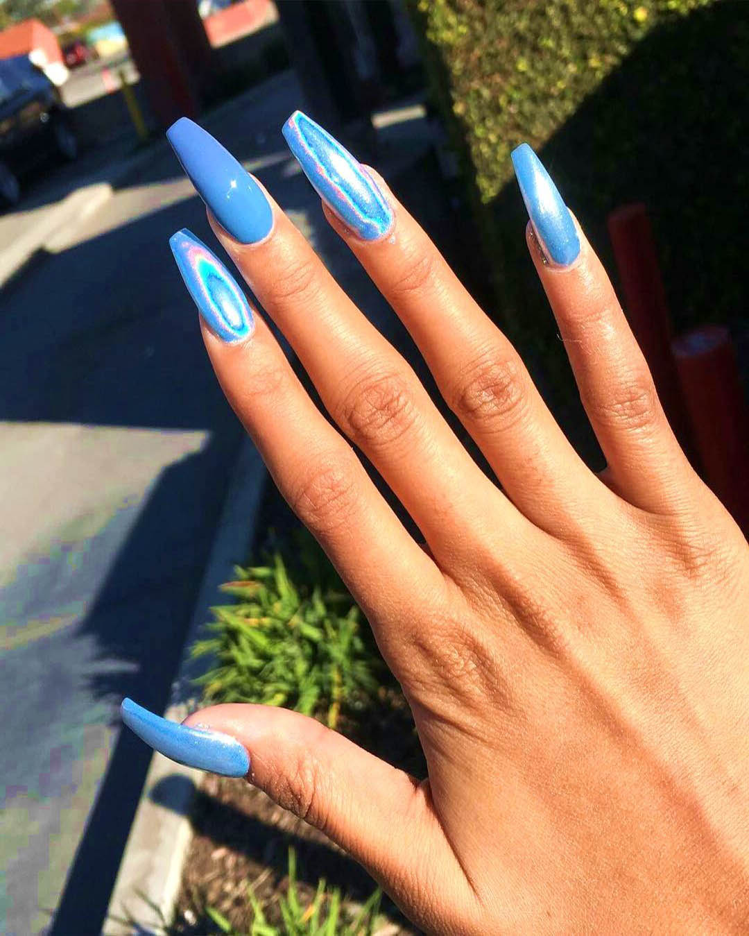 Coffin Summer Blue Nail Designs Confession Of Rose Ombre coffin nails acrylic coffin nails don't just provide more room for creative design;