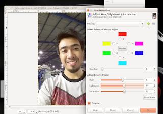photo yang sedang di edit menggunakan Gimp Image Editor