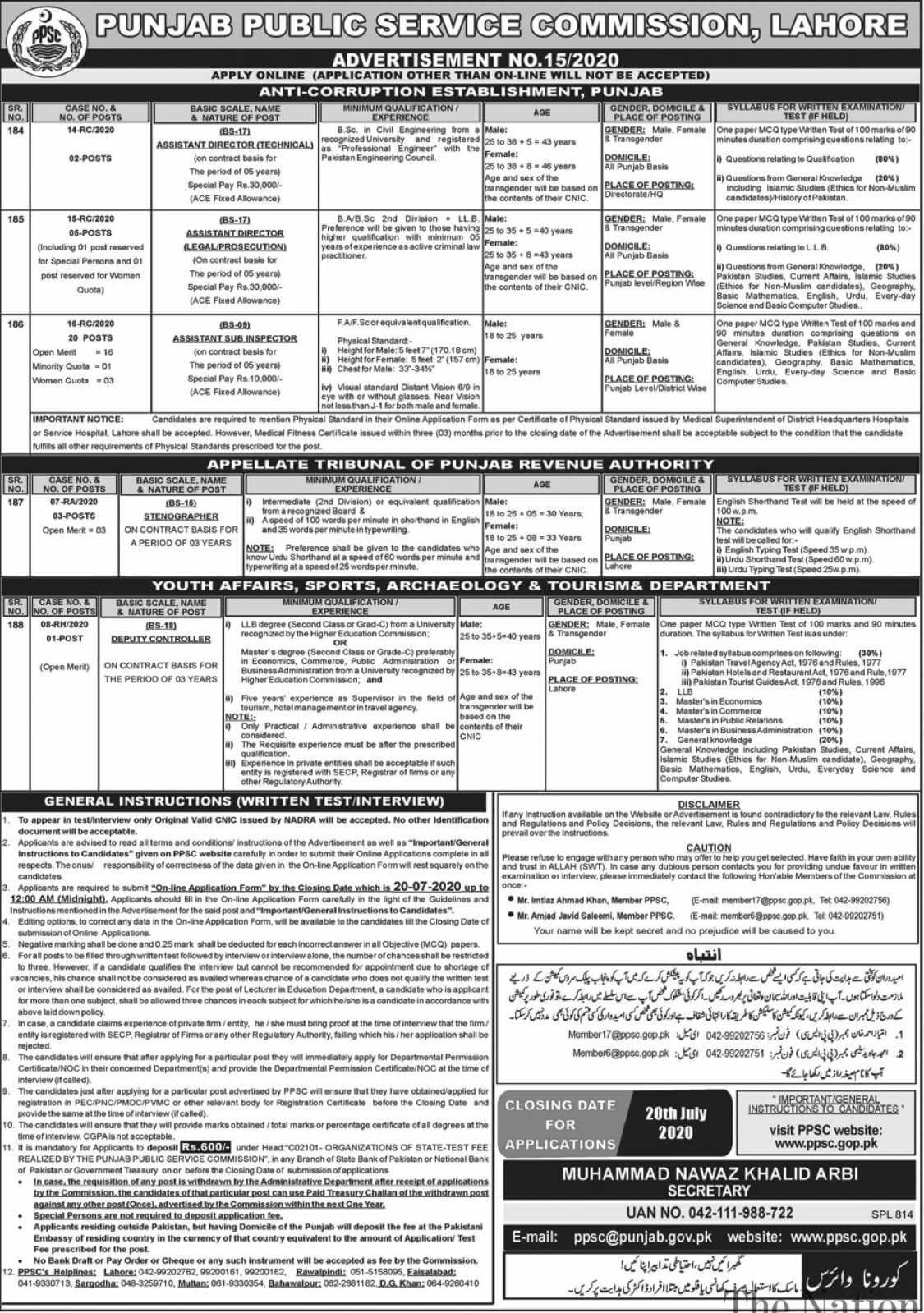 PPSC Anti-Corruption Jobs 2020 Online Apply Download Challan Form