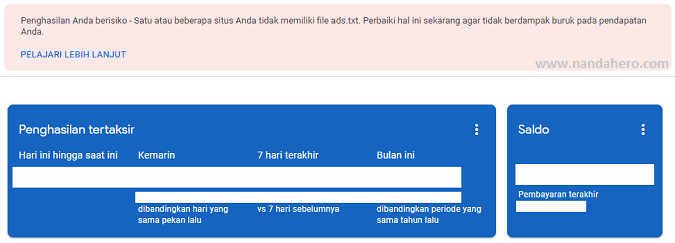 muncul peringatan ads.txt di google adsense