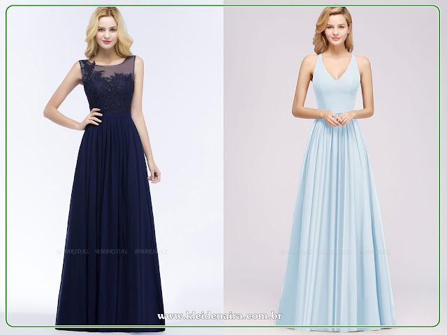 Vestidos em Tons de Azul para Casamento, Formatura...