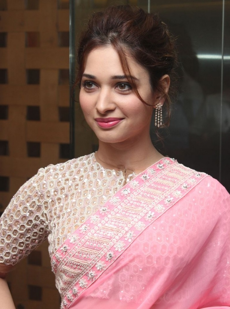 Glamours Kollywood Queen Tamannaah Beautiful Hair Style In Pink Designer Saree