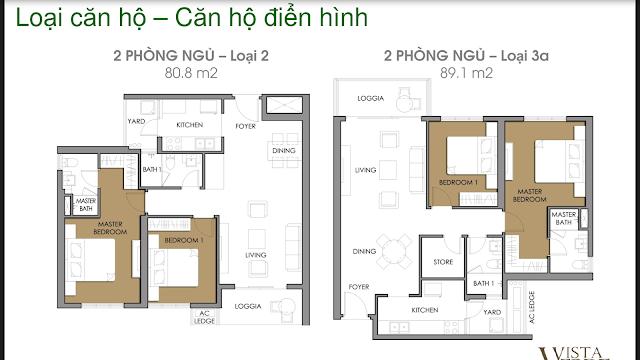 mặt bằng căn hộ 2 phòng ngủ vista verde