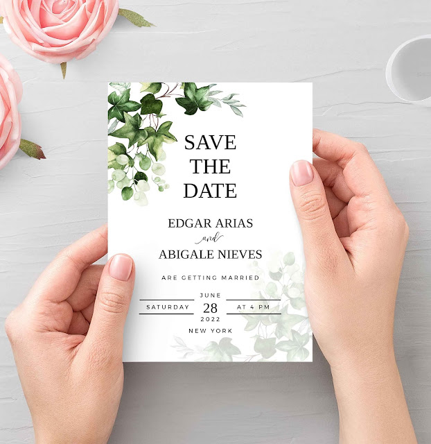 ivy greenery save the date cards