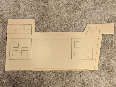 cardboard before it's painted for the wagon