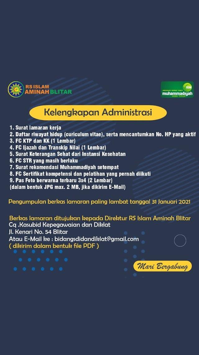 Loker Dokter RS Islam Aminah Blitar Jawa Timur