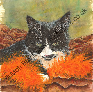 Watercolour painting of a black and white cat with a moustache