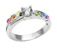 Female Lesbian Love Step CZ Wedding Band Engagement Ring (Rainbow LGBT Pride Lesbian Rings)