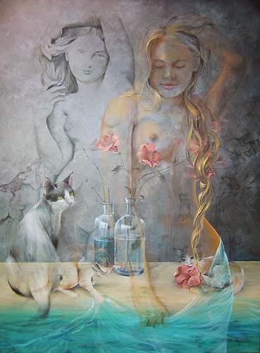No Banho - Chelìn Sanjuan e todo encanto em suas pinturas ~ Pintor espanhol