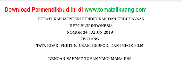 permendikbud ri nomor 34 tahun 2019; tomatalikuang.com