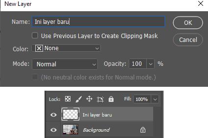 Caramerubah nama layer baru di Photoshop