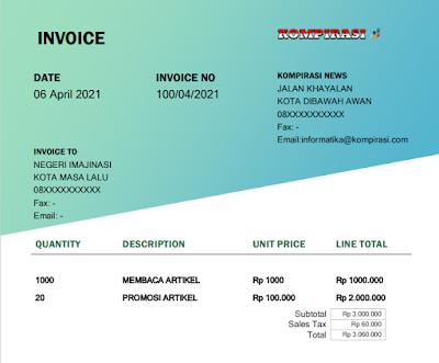 cara membuat invoice di word dengan 11 contoh template gratis