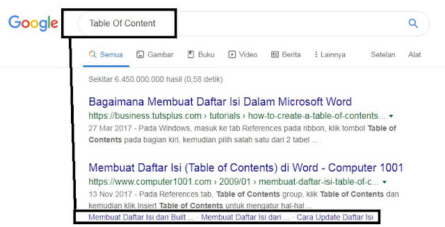 Gambar Fitur Table Of Content