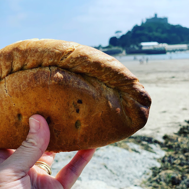 Cornish Pasty with St Michael's Mount in background