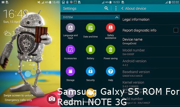 Samsung Galaxy S5 ROM For Redmi Note 3G Tested - Full ROM Android