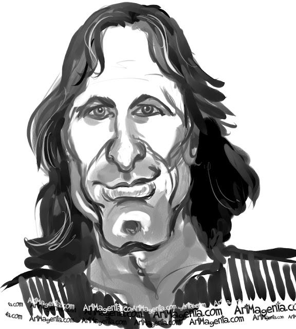 Viggo Mortensen  caricature cartoon. Portrait drawing by caricaturist Artmagenta