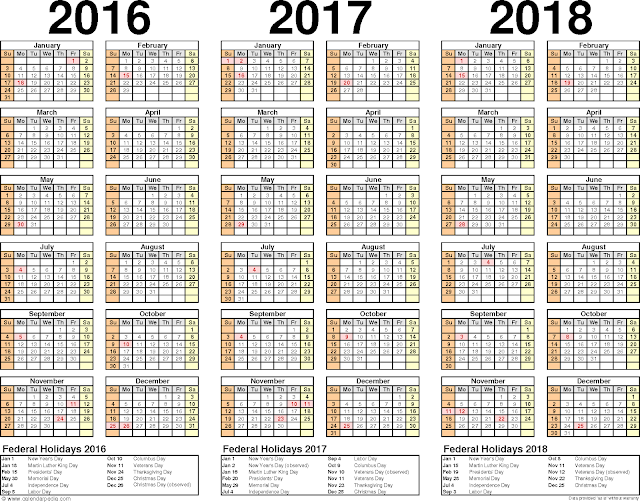 2016/2017/2018 Calendar PDF, Three year calendars for 2016/2017/2018 Monthly, 2016/2017/2018 Printable Calendar PDF Free download, 2016/2017/2018 Calendar PDF Portrait Landscape