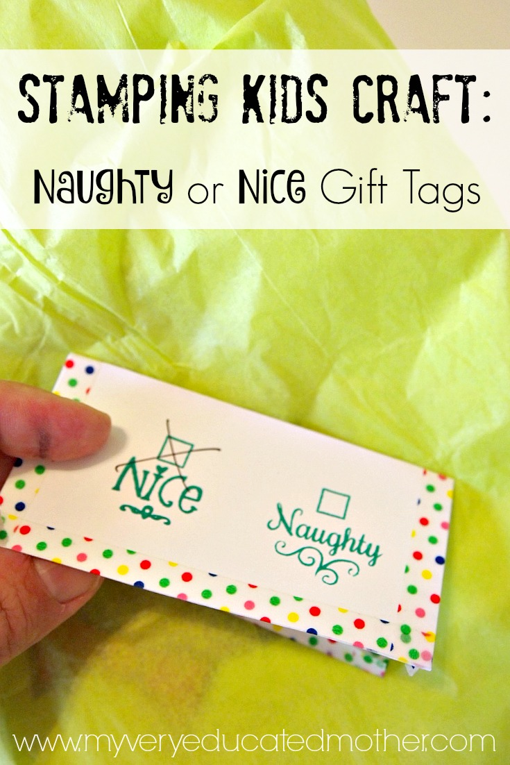 Naughty or Nice Stamped Christmas Gift Tags made using PSA Essentials Peel & Stick Stamps