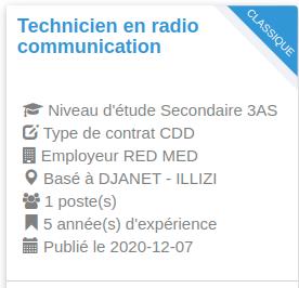 Employeur : RED MED Technicien en radio communication