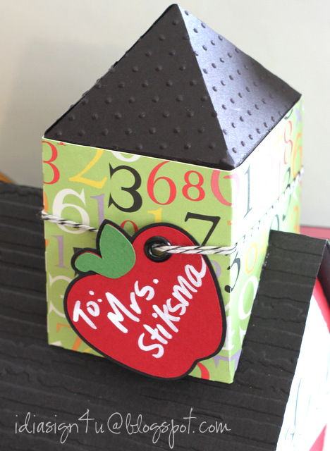 3D Paper School House Treat Boxes for Teachers | SVGCuts by ilovedoingallthingscrafty.com