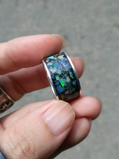Nhẫn Càn Long đá quý Opal thiên nhiên, bạc cao cấp