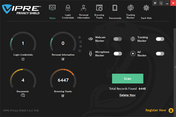 VIPRE Privacy Shield Main Windows Trial