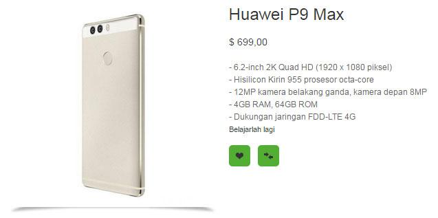 Inilah wujud asli, spesifikasi dan harga Huawei P9 max