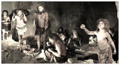 Hombres de Neandertal en una cueva