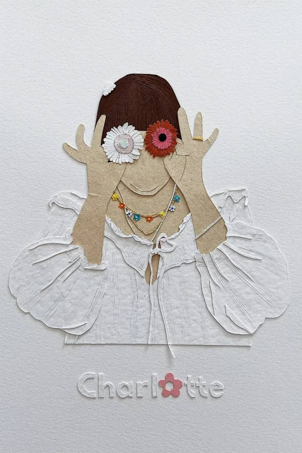 personalized paper art portrait of woman covering each eye with a daisy