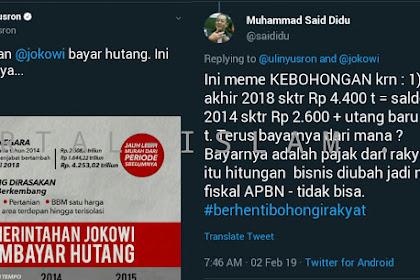 MAKJLEB! Ulin Yusron Unggah Infografis 'Pemerintahan Jokowi Bayar Utang', Said Didu: MEME KEBOHONGAN!