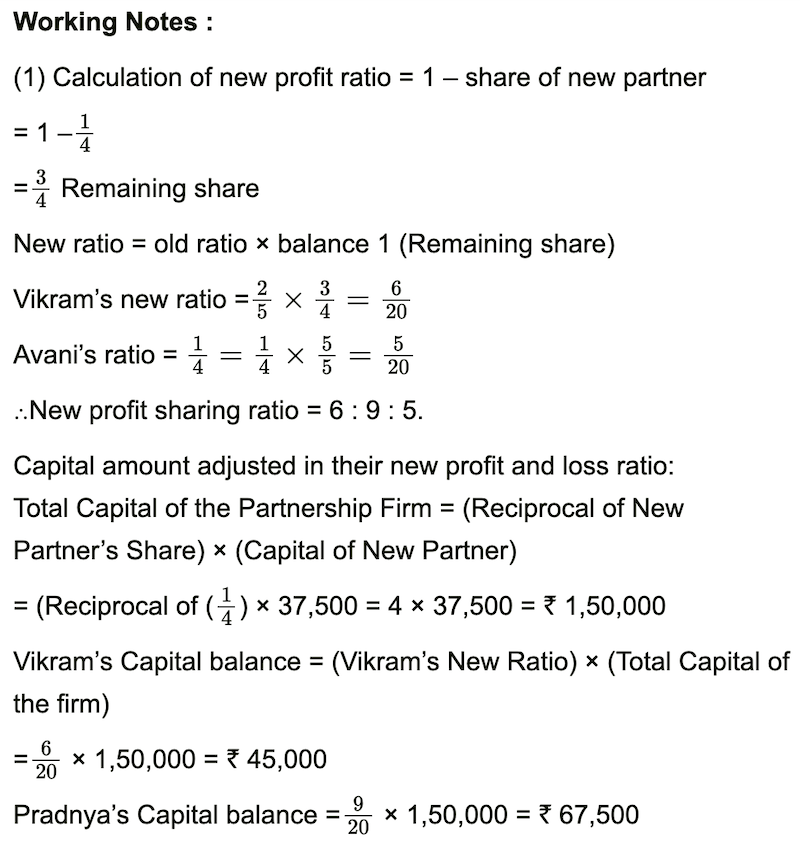 Vikram and Pradnya share profits and losses in the ratio 2:3 respectively, Practical Problems | Q 1 | Page 161, Balbharati solutions for Book-keeping and Accountancy 12th