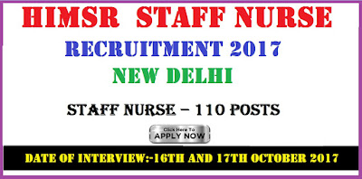 HIMSR Recruitment 2017 Staff Nurse Vacancy New Delhi
