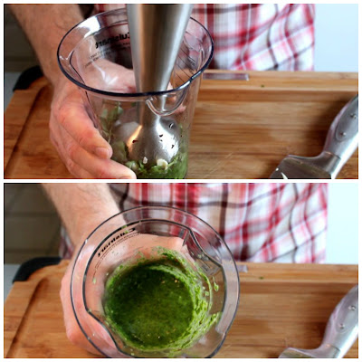 Blending Chimichurri Sauce for Grilled Vegetable Sandwich