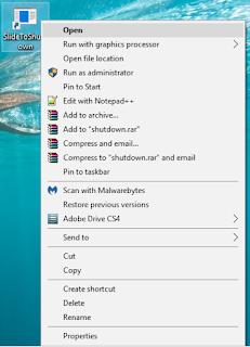 slide to shutdown windows 10