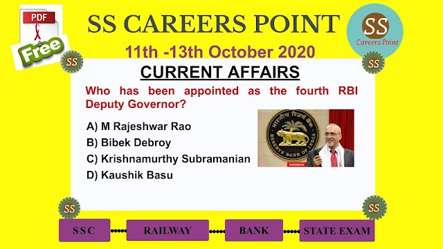 11th -13th  October 2020 CURRENT AFFAIRS | RRB NTPC SSC GROUP D