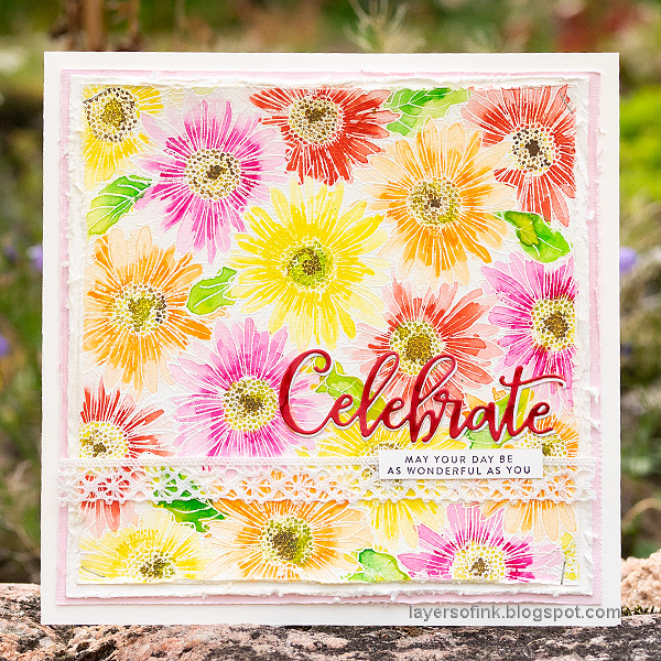 Layers of ink - Gerbera Daisy Watercolor Cards by Anna-Karin Evaldsson. Simon Says Stamp Gerbera Daisy Background stamp.