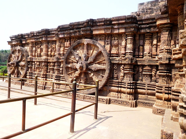 Wheels of the solar chariot at the Konark Sun Temple, Orissa.