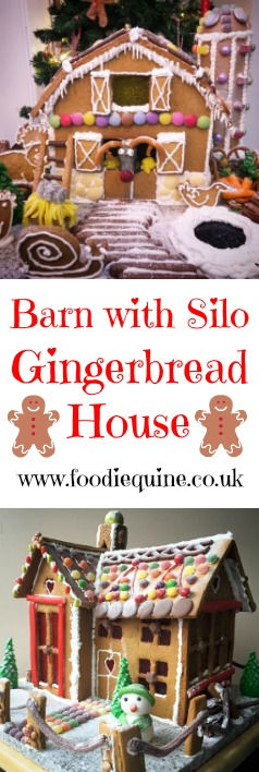 www.foodiequine.co.uk Christmas 2016's Gingerbread House Creation. Barn with Farmyard, Silo, Vegetable Patch, Rudolph, Olaf and Jelly Baby Jesus in the manger.
