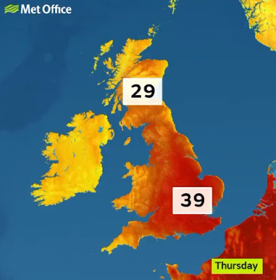 Forecast for England's hottest ever temperature